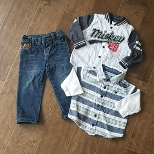 BOYS Lot of 2 Button down shirt and 1 Jeans  6-9Mo
